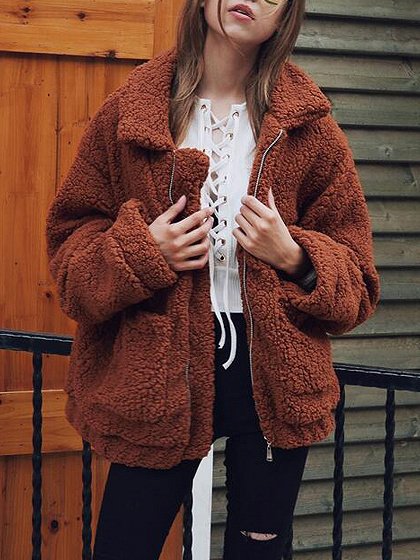 Brown Lapel de manga larga Faux Shearling Coat