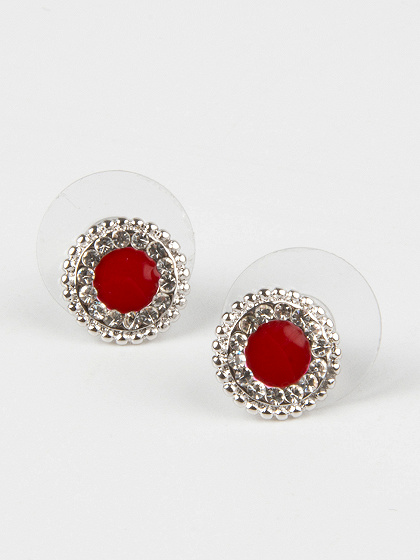 Red Disc Stone Stud Earrings