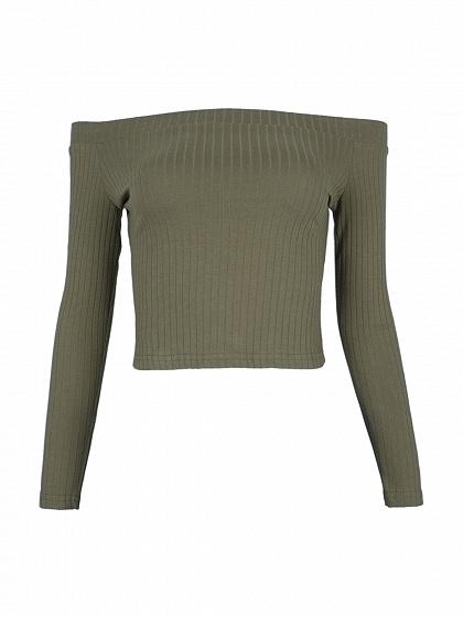 Army Green Off Shoulder Rib Long Sleeve Crop Top