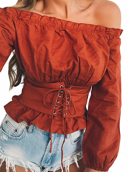 Brownish Red Off Shoulder Corset Detail Long Sleeve Blouse