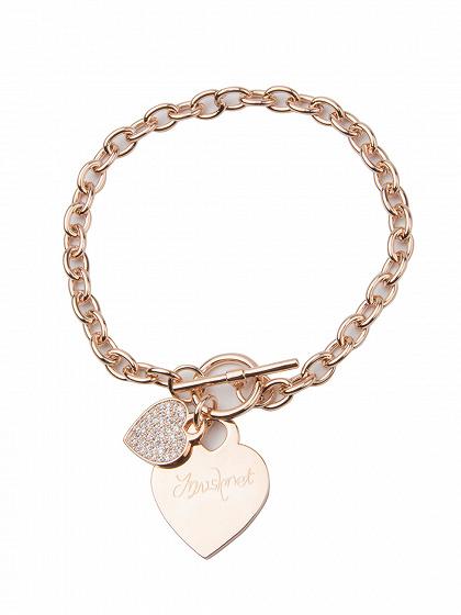 Rose Gold Kristall verschönert Herz Anhänger Kette Armband