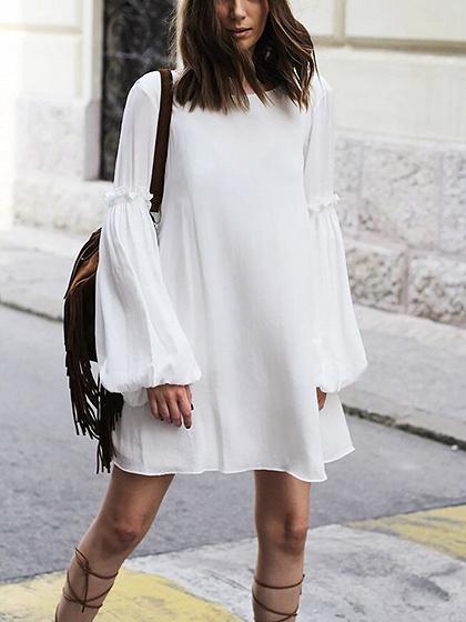 White V-back Balloon Sleeves Chiffon Mini Dress