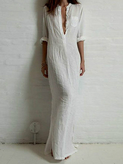 White Pocket 3/4 Sleeve Maxi Shirt Dress