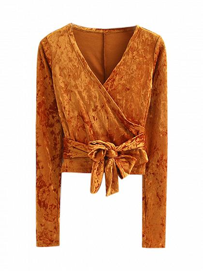 Orange V Neck Wrap Tie Waist Crushed Velvet Long Sleeve Top