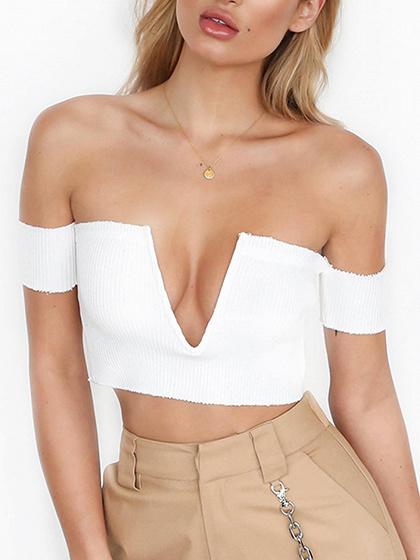 Blanco Deep V Front Off hombro Costilla Costura Knit Top