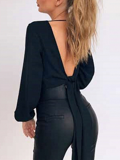 Black V Neck Wrap Tie Back Waist Long Sleeve Top