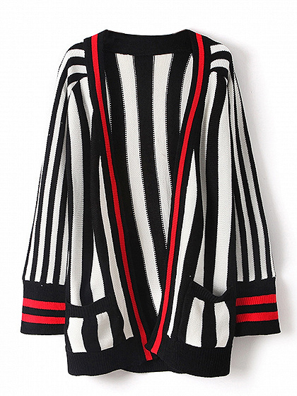 Monochrome Stripe Open Front Knit Cardigan
