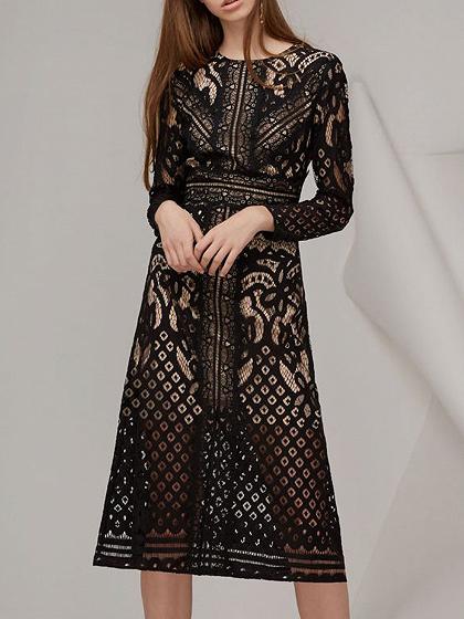 Black Lace Overlay Long Sleeve Midi Dress