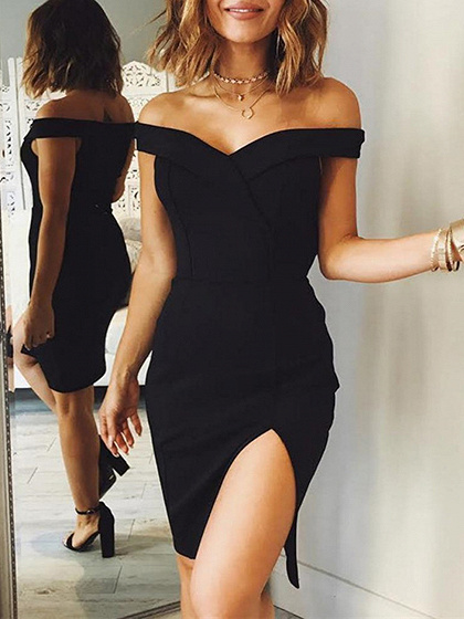 Black Off Schulter gefaltete Split Dress