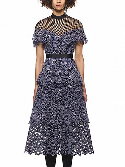 Purple Sweetheart Sheer Mesh Cut Out Lace Layered Midi Dress