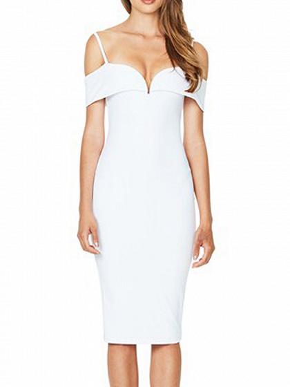Weiß V-Ausschnitt aus Schulter Spaghetti Strap Bodycon Midi Kleid