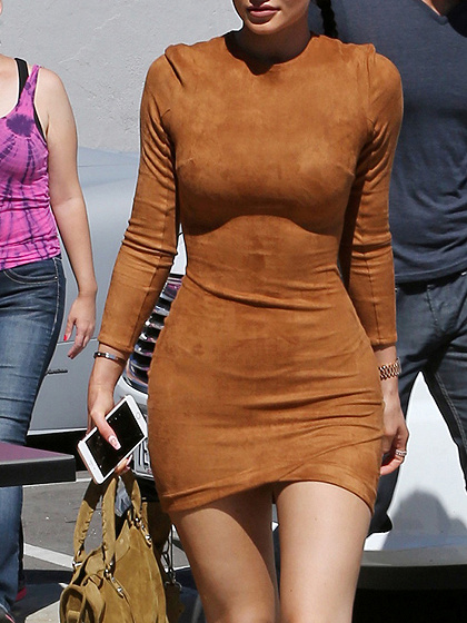 Brown Faux Suede Long Sleeve Bodycon Mini Dress