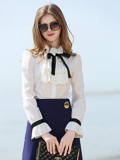 White Ruffle frente pajarita manga larga de gasa camisa