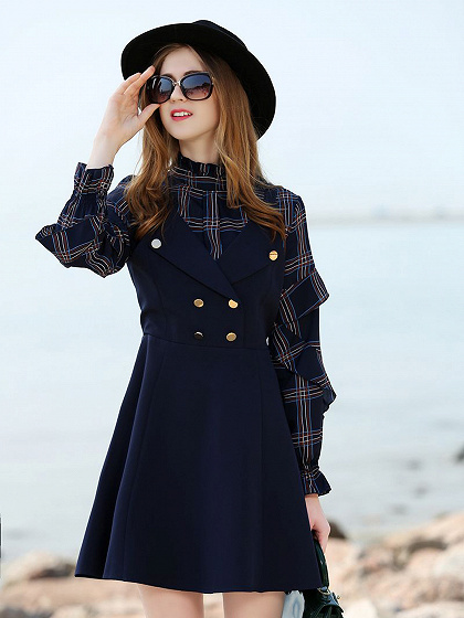 Blue Stand Collar Ruffle Plaid Puff manga Mini vestido
