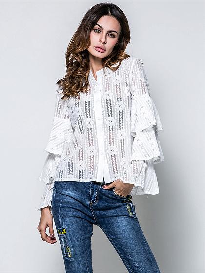 White Ruffle Detail Flare Sleeve Lace Shirt