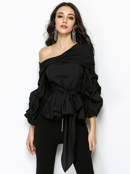 Negro una hombro pajarita frente manga larga blusa