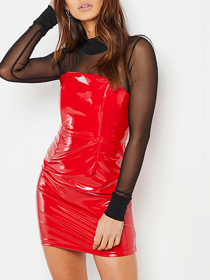Red Strapless Belted Waist Leather Look Bodycon Mini Dress