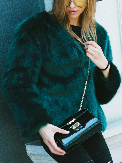 Dark Green Collarless Open Front Faux Fur Coat