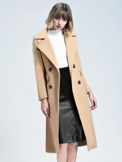 Khaki Lapel Double-breasted Wool Longline Coat