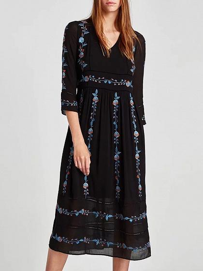 Black V-neck Embroidery Detail Lace Panel Long Sleeve Midi Dress