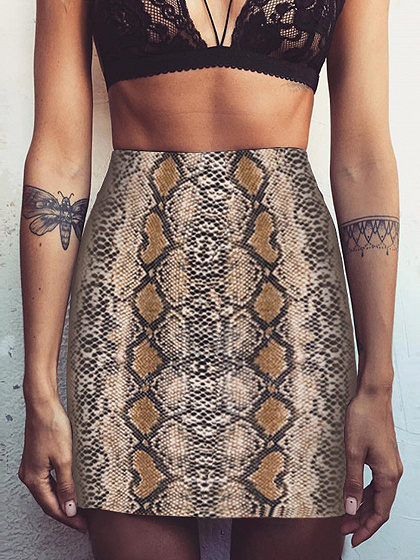 Brown High Waist Snake Print Pencil Mini Skirt