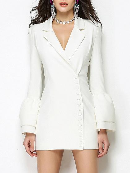 White Lapel Flared Sleeve Blazer Mini Dress