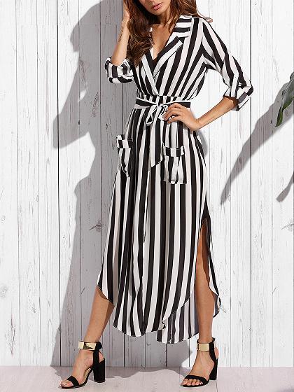 Black V-neck Stripe Long sleeve Shirt Dress