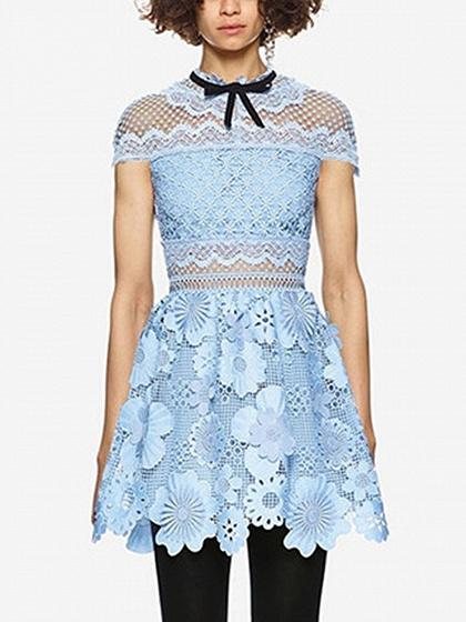 Light Blue 3D Flower Cut Out Lace Mini Dress