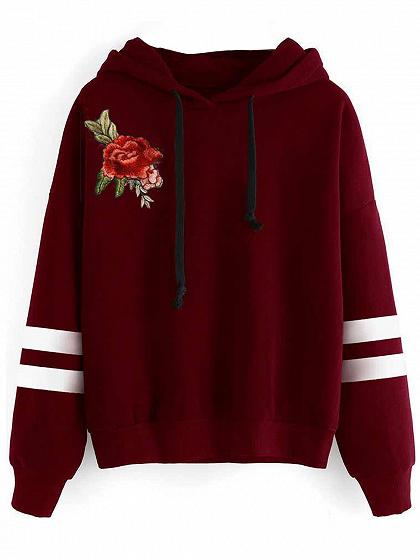 Hoodie à rayures rouges à manches longues à fleurs à la broderie