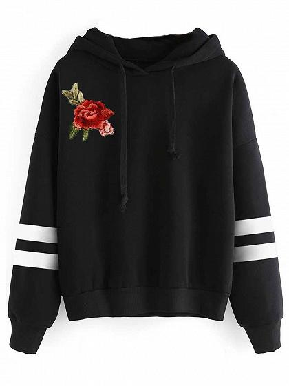 Black Striped  Embroidery Flower Long Sleeves Hoodie