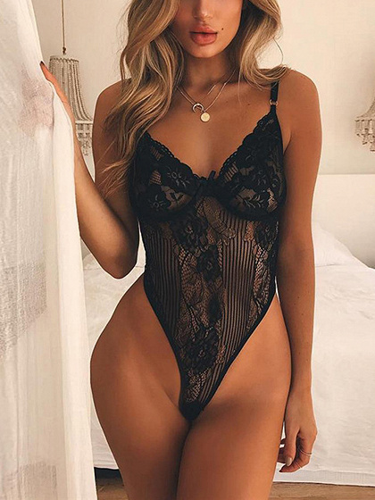 Black V-neck Spaghetti Strap SheerLace Bodysuit