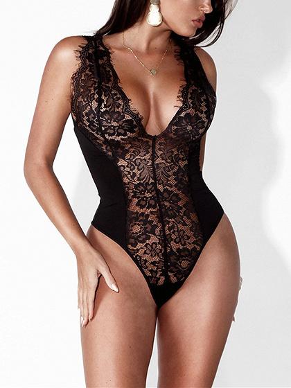 Cuello en V de cuello en V negro Sheer Lace Bodysuit