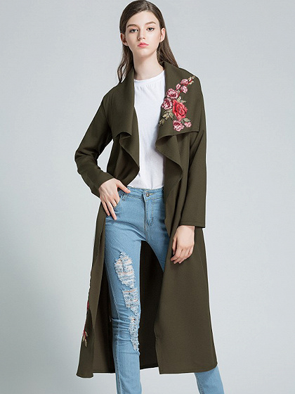 Army Green Embroidery Tie Waist Longline Trench Coat
