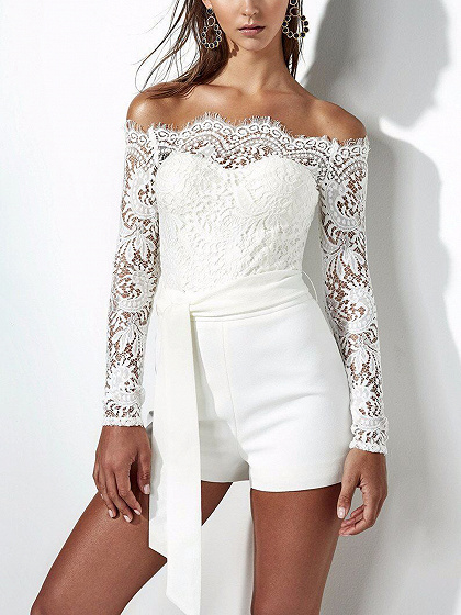 White Off Shoulder Tie Waist Lace Panel Long Sleeve Playsuit
