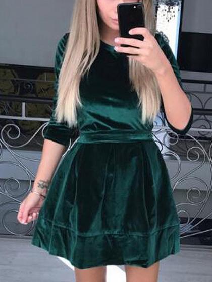 Green Velvet Tie Waist Skater Mini Dress