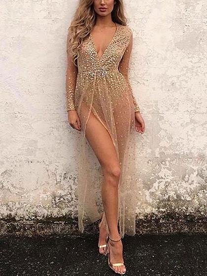 Khaki Plunge Sequin Detail Thigh Split Sheer Mesh Maxi Dress