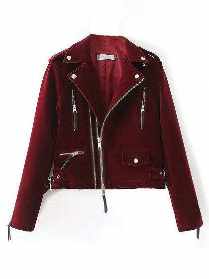 Burgundy Velvet Biker Jacket