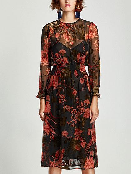 Polychrome Floral Long Sleeve Midi Dress