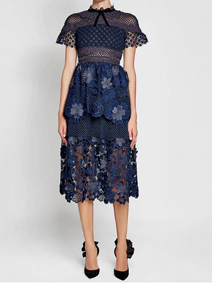 Navy Blue Mesh Panel 3D Floral Lace Double Layer Midi Dress