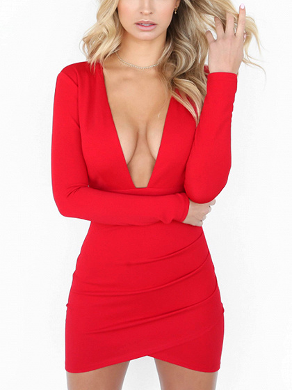 Red Deep V-neck Backless Long Sleeve Bodycon Mini Dress
