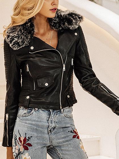 Black Faux Fur Leather Look Biker Jacket
