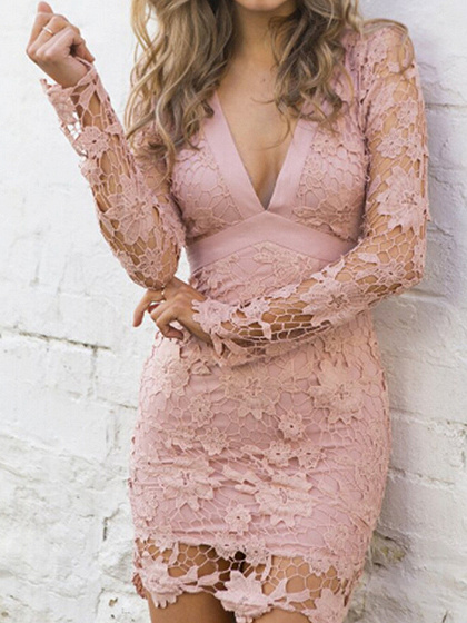 Pink V-neck Sheer Lace Sleeve Backless Bodycon Mini Dress