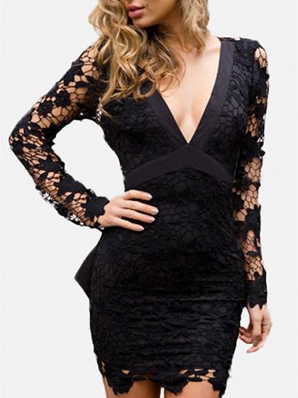 Black V-neck Sheer Lace Sleeve Backless Bodycon Mini Dress