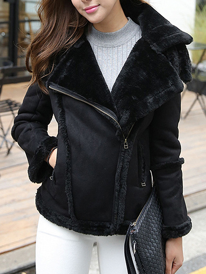 Black Suedette Lapel Faux Shearling  Biker Jacket