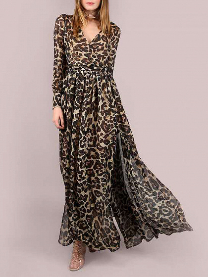 Leopard V-neck Tie Waist Thigh Split Puff Sleeve Maxi Dress