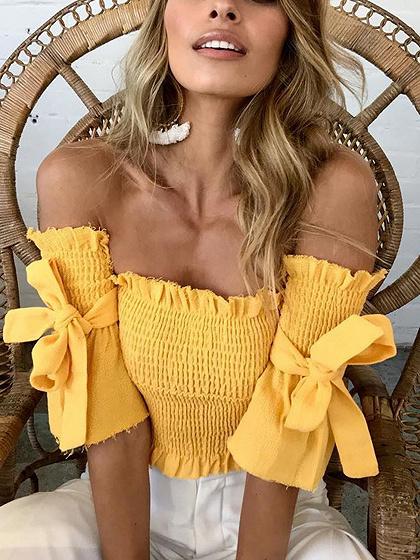 Yellow Off Shoulder Bow Tie Detail Crop Top