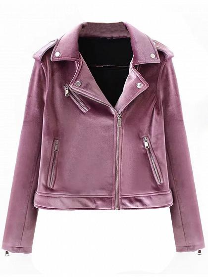 Purple Velvet Lapel Zip Detail Biker Jacket