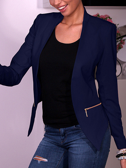Blue Open Front Zip Detail Long Sleeve Blazer