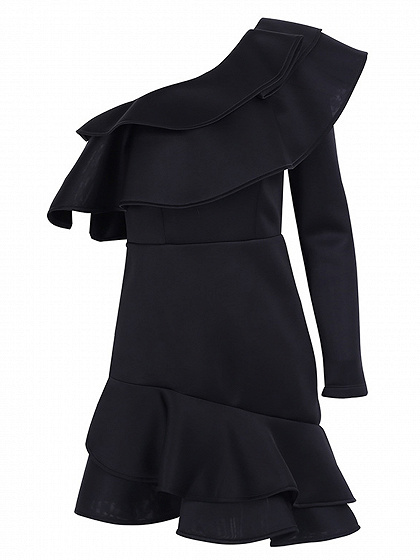 Black One Shoulder Ruffle Trim Mini Dress