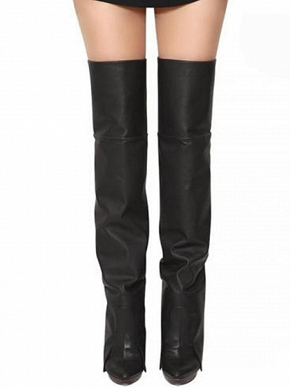 Black Leather Heeled Over The Knee Boots